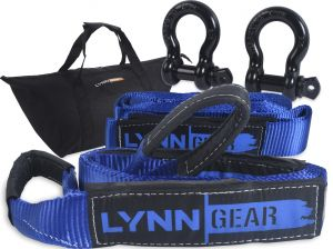 LYNN GEAR - 2PK Tow & Recovery Strap (32,000+ LB Break Strength) & D Ring Shackle Combo Kit | (1) 10' strap, (1) 30' strap, (2) Shackles & HD Tote | Vehicle Hauling Offroad for Pickups, ATV & Trucks!