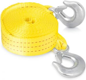 """Heavy Duty Tow Strap with Safety Hooks   2"""" x 20'   10,000 LB Capacity   Polyester"""